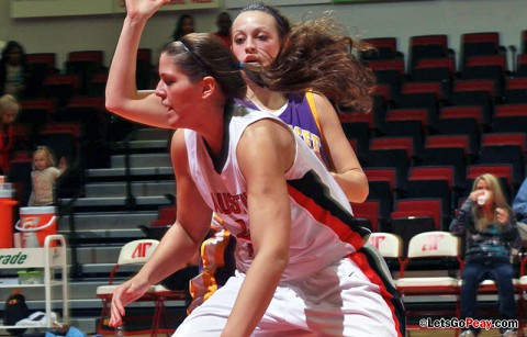 Kaitlyn Hill scored all 19 of her points in the second half to help Austin Peay win at Murray State, Monday night. Austin Peay Women's Basketball. (Courtesy: Brittney Sparn/APSU Sports Information)