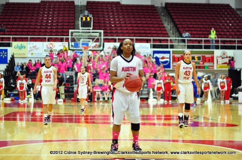 Lady Govs guard Shira Buley prepares for a free throw in the second half of Saturday's game against Morehead State. The Lady Govs went on to win 88-81 in overtime. Austin Peay Women's Basketball.