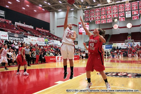 Whitney Hanley drives for a shot in the Lady Govs game against Southeast Missouri Saturday night. The Lady Govs defeated SEMO 88-84 to clinch a berth in next week's OVC Tournament. Austin Peay Women's Basketball.