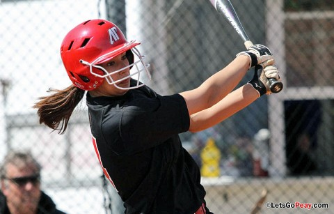 Sophomore Lauren de Castro's grand slam ties game in come-from-behind victory over Mercer. Austin Peay Softball. (Courtesy: Austin Peay Sports Information)