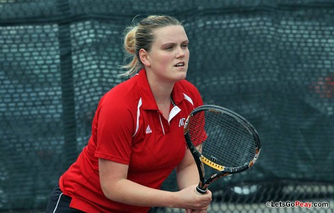 Senior Vanja Tomic gets Lady Govs only win against Samford. Austin Peay Women's Tennis. (Courtesy: Austin Peay Sports Information)
