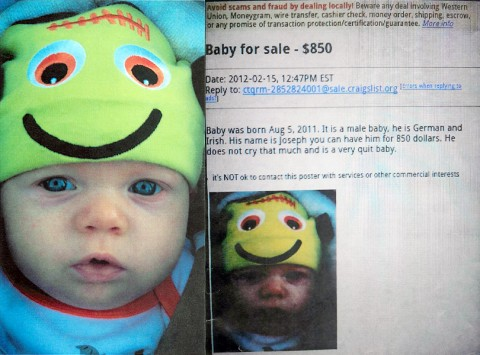The picture of the baby used in the Craigslist ad as well as a screen shot of the ad itself that had Clarksville Police scrambling February 15th.