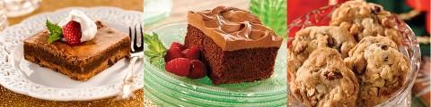 Chocolate Fudge Bars, Sour Cream Chocolate Sheet Cake and Easy Double Chocolate Chip Cookies