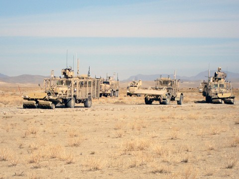 Soldiers with the 887th Engineer Support Company, 326th Engineer Battalion, 101st Sustainment Brigade, conduct route clearing in Regional Command East, Afghanistan. (Courtesy Photo)