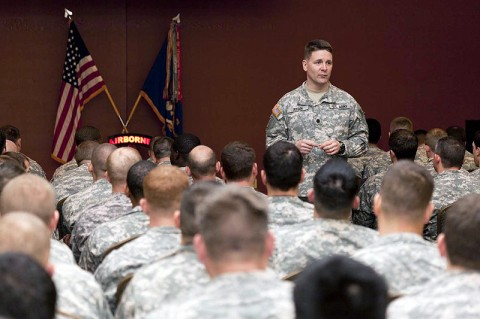 """Lt. Col. Phil Ryan, the 2nd Battalion, 160th SOAR commander, addresses troops during the """"Darkhorse"""" Battalion safety stand-down day Feb. 14th at Fort Campbell, KY.  The battalion took the day to participate in classes, practical exercises and to present awards all aimed at safety. (Photo by Maj. Mike Burns, 160th SOAR PAO)"""