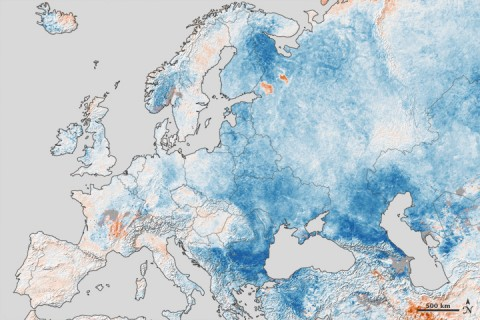 This map shows temperature anomalies for Europe and western Russia from January 25th to February 1st, 2012, compared to temperatures for the same dates from 2001 to 2011. The anomalies are based on land surface temperatures observed by the MODIS instrument on NASA's Terra satellite.