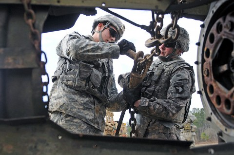 Soldiers of Company B, 426th Brigade Support Battalion, 1st Brigade Combat Team, 101st Airborne Division, work together to place their rigging system back in its place during wrecker training here at the ranges Jan. 31st. (Photo by Sgt. Richard Daniels Jr.)