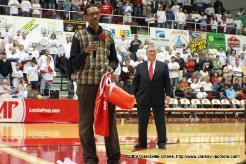 Fly Williams addresses the crowd in the Dunn Center during his jersey retirement ceremonyFebruary 5th, 2009.