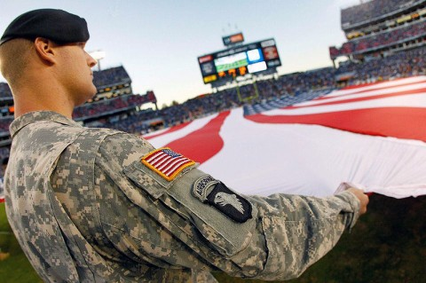 Fort Campbell Soldiers tend to the National colors during the Tennessee Titans vs. Cincinnati Bengals game at LP field in Nashville, TN on Sunday, November 6th, 2011. (Photos/Donn Jones Photography in Nashville, Tennessee.)