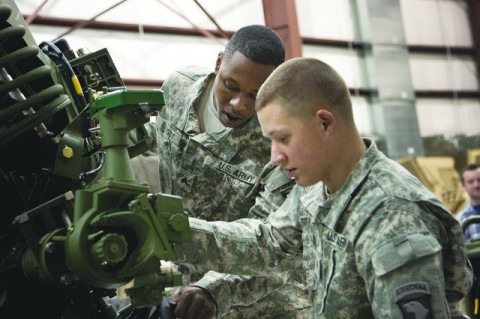 Sgt. Jahrahrah Gousby (left) and Spc. Morris Morley were among members of the the 101st Airborne Division who tested the new digitized M119A2 howitzer technical manual during the second phase of the operator Logistics demonstration at Picatinny Arsenal, N.J., Jan. 18, 2012. (Erin Usawicz)