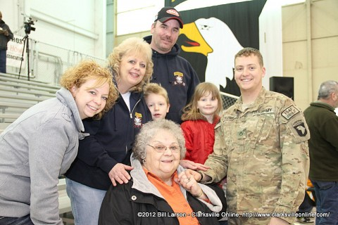 A soldier reunited with his family