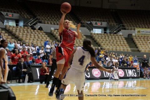 Whitney Hanley scores 2 of her 38 points during the APSU vs Morehead State game in round 1 of the OVC Tournament in Nashville, TN