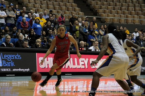 Senior Whitney Hanley pushes towards the APSU goal during Hanley Time