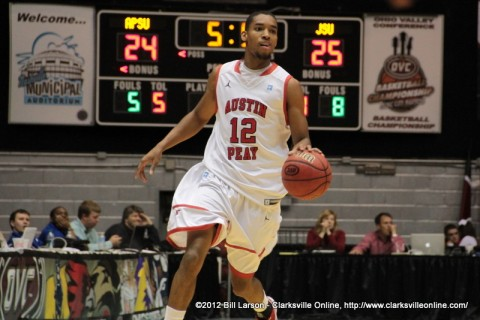 APSU Senior TyShawn Edmondson drives up the court in the OVC Tournament first round game vs Jacksonville State. Edmonson lead all scorers with a total of 22 points.