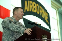 Maj. Gen. James McConville, Commander of the 101st Airborne Division addresses the returning soldiers and their families