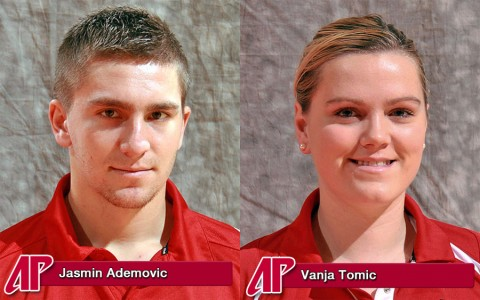 Austin Peay Tennis' Jasmin Ademovic and Vanja Tomic.