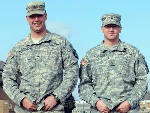 Sgt. James Croghan (left) and Sgt. David Eldridge of the 101st Sustainment Brigade. (Photo by Spc. Michael Vanpool)