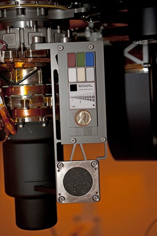 Two instruments at the end of the robotic arm on NASA's Mars rover Curiosity will use calibration targets attached to a shoulder joint of the arm. (Image credit: NASA/JPL-Caltech)