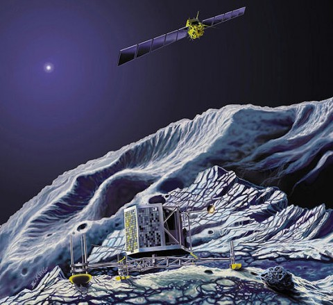 An artist's concept of Rosetta in orbit while the mission's lander explores the comet's surface.