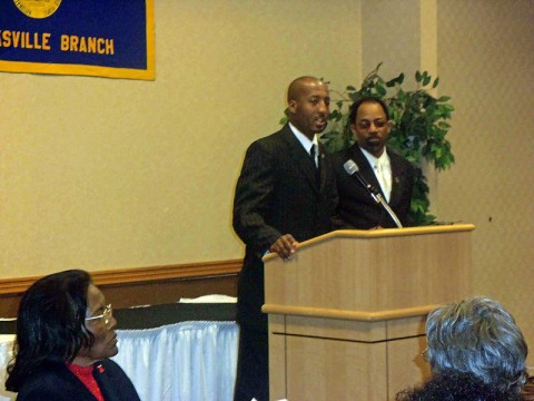 "LEAP Founder/Executive Director Richard ""Reason"" Garrett (left) and NAACP President Jimmie Garland (right) spoke at the Annual Barbara Johnson Unity Day Breakfast."