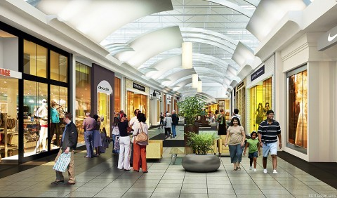 Rendering of the newly updated Fashion Court at Opry Mills.