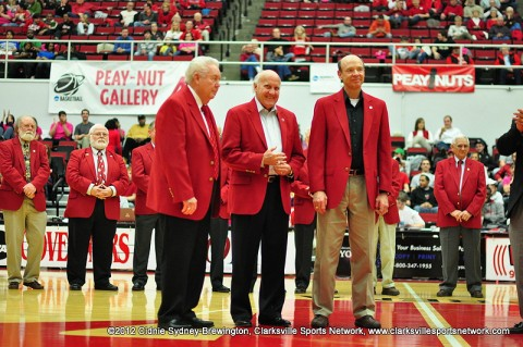 Gary Mathews, James Corlew, and Don Jenkins were inducted into the Red Coat Society Saturday Night at halftime of the Austin Peay Governors vs. Youngstown State basketball game.