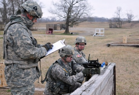 Specialist Rodney C. Wall, training room clerk with Headquarters and Headquarters Company, 1st Brigade Combat Team, 101st Airborne Division, aims down the sights of his M320 grenade launcher module Feb. 8 at Range 22B here. The range was held by Company C, 1st Special Troops Battalion, 1st BCT. (U.S. Army/Sgt. Jon Heinrich, 1st Brigade Combat Team, 101st Airborne Division (Air Assault).)