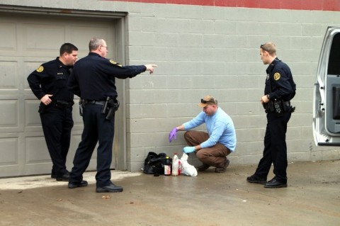 Clarksville Police investigate a One Pot Meth Lab in a bag found on Kraft Street. (Photo by CPD-Jim Knoll)
