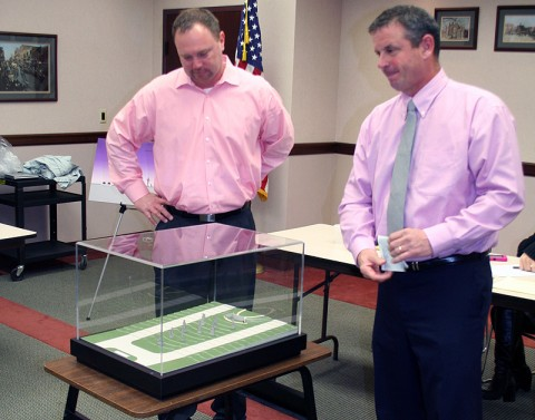 """Military Affairs Committee Chairman, Jeff Truitt and Chamber Second Vice-Chairman, Jim Durrett, present the """"Statues of Patriots Park"""" project to a group of MAC members on Thursday morning."""