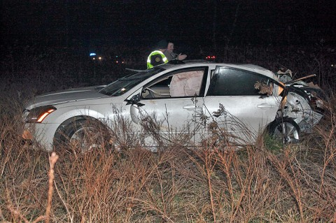 2008 Nissan Maxima went off the right side of Tiny Town Road and collided with a tree. (Photo by CPD Melissa Spielhagen)