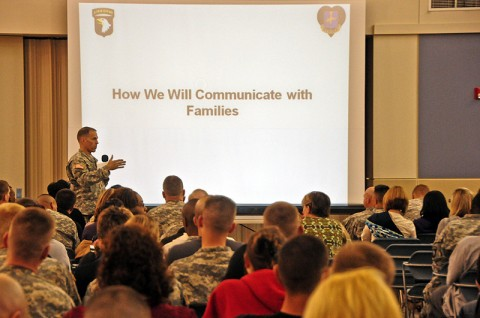 Col. Dan Walrath, the commander of the deploying Security Force Assistance Teams with the 2nd Brigade Combat Team, 101st Airborne Division (Air Assault), discusses communication with families and Strike Soldiers during the brigade's pre-deployment brief held March 6th. Nearly 500 Family Members and Soldiers attended the brief and were informed on polices and provided guidance for the upcoming Strike deployment to eastern Afghanistan. (U.S. Army photo by Sgt. Joe Padula, 2nd BCT PAO, 101st Abn. Div.)