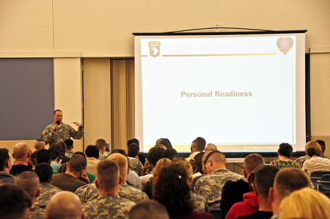 Col. Dan Walrath, the commander of the deploying Security Force Assistance Teams with the 2nd Brigade Combat Team, 101st Airborne Division (Air Assault), provides information regarding personal readiness with families and Strike Soldiers during the brigade's pre-deployment brief held at Fort Campbell's Passenger Processing Facility, March 6th. Walrath's intent was to inform the attendees on Strike's current situation and programs available to the deployed Soldier Families. (U.S. Army photo by Sgt. Joe Padula, 2nd BCT PAO, 101st Abn. Div.)