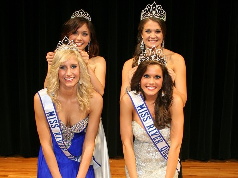 The 2012 Miss River Queen Tara Zolfagharbik (front right) and 2012 Miss River Teen Caitlin Campbell (front left) being crowned by 2011 Miss River Queen Giselle Fontenot (back right) and Miss River Teen Sarah Gross (back left).