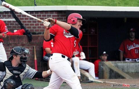 Catcher Matt Wollenzin's two-run home run led the Govs past Alabama A&M, Tuesday. Austin Peay Baseball. (Courtesy: Austin Peay Sports Information)
