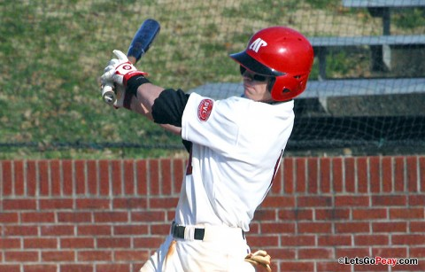 Left fielder Jon Clinard has two of Austin Peay's three hits in Saturday's loss to Dayton. Austin Peay Baseball. (Courtesy: Austin Peay Sports Information)