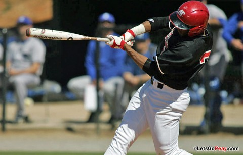 Sophomore outfielder Rolando Gautier had a double and triple as part of a 2-for-3, RBI outing in the Govs loss to Evansville, Wednesday. Austin Peay Baseball. (Courtesy: Keith Dorris/Dorris Photography)