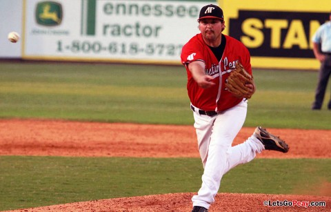 Senior reliever Mike Hebert threw 2.2 scoreless innings for the win in the Govs 10-inning victory at Ohio State, Saturday. Austin Peay Baseball. (Courtesy: Austin Peay Sports Information)