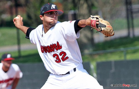 Starting pitcher Casey Delgado notched his team-leading seventh victory at Tennessee Tech, Friday. Austin Peay Baseball. (Courtesy: Brittney Sparn/APSU Sports Information)