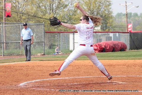 Junior Morgan Brewer leads the Lady Govs pitching staff with a 6-11 win-loss mark this season and owns a 3.22 ERA to go with 85 strikeouts in 119.2 innings of work. Austin Peay Softball.
