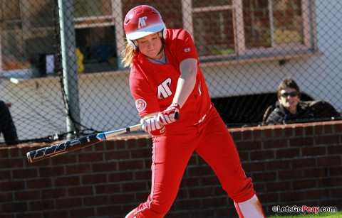 Junior Morgan Brewer sent the game Sunday into extra inning with a game tying RBI singe in the bottom of the seventh inning. Austin Peay Women's Softball. (Courtesy: Austin Peay Sports Information)