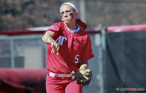 Freshman Laurel Burroughs picked up her first college hit Saturday, a double, in the loss to SIUE. Austin Peay Softball. (Courtesy: Austin Peay Sports Information)