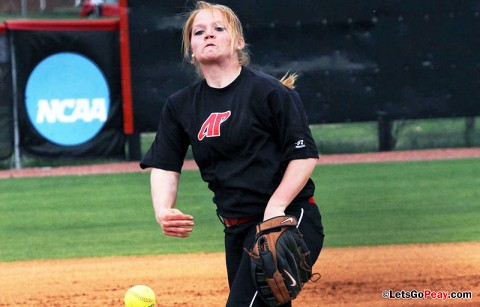 Senior Ashley Bolda pitched a complete game and drove in two runs in a 4-2 victory over SIUE. Austin Peay Softball. (Courtesy: Austin Peay Sports Information)