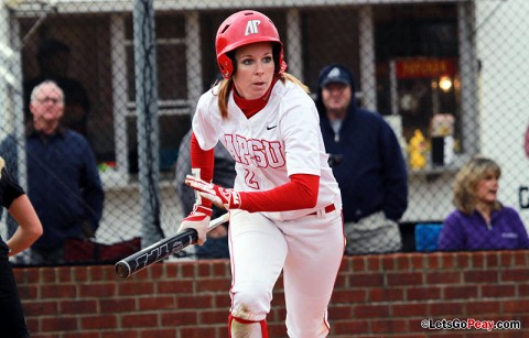 Senior Catie Cozart had two hits, three RBI and three stolen bases in victory over Loyola Chicago. Austin Peay Women's Softball. (Courtesy: Brittney Sparn/APSU Sports Information)