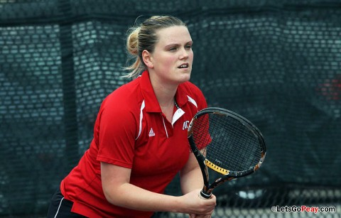 Senior Vanja Tomic gets the Lady Govs only win at singles. Austin Peay Women's Tennis. (Courtesy: Austin Peay Sports Information)