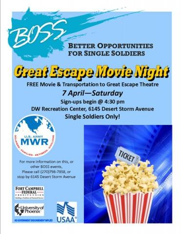 BOSS Great Escape Movie Night