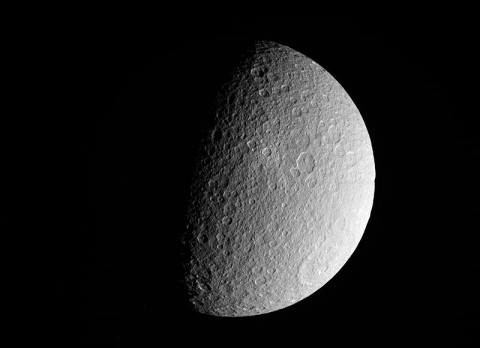 NASA's Cassini spacecraft took this raw, unprocessed image of Saturn's moon Rhea on March 10th, 2012. The camera was pointing toward Rhea at approximately 26,019 miles (41,873 kilometers) away. (Image credit: NASA/JPL-Caltech/SSI)