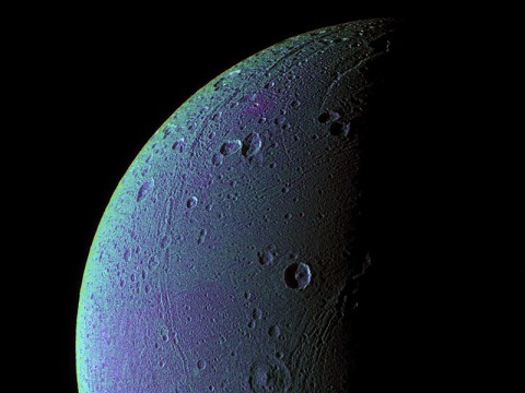 This view highlights tectonic faults and craters on Dione, an icy world that has undoubtedly experienced geologic activity since its formation. (Image credit: NASA/JPL/Space Science Institute)