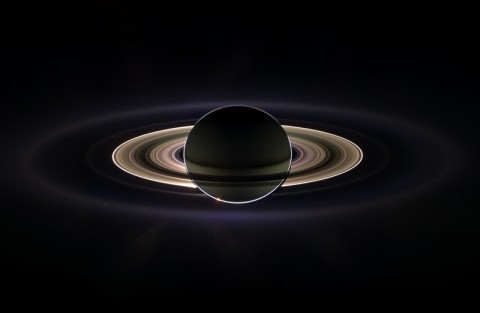 With giant Saturn hanging in the blackness and sheltering Cassini from the sun's blinding glare, the spacecraft viewed the rings as never before, revealing previously unknown faint rings and even glimpsing its home world. (Image credit: NASA/JPL-Caltech)