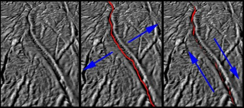 "These images, based on ones obtained by NASA's Cassini spacecraft, show how the pull of Saturn's gravity can deform the surface of Saturn's moon Enceladus in the south polar region crisscrossed by fissures known as ""tiger stripes."" (Image credit: NASA/JPL-Caltech/SSI/LPI/GSFC)"