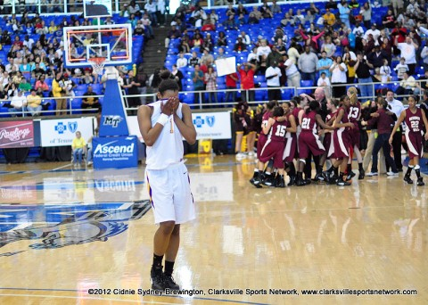 Bashaara Graves walks to the bench after Clarksville High School Girl's Basketball goes down and loses to Science Hill 49-45 in the state semifinals. Lady Wildcats end the season 37-1.